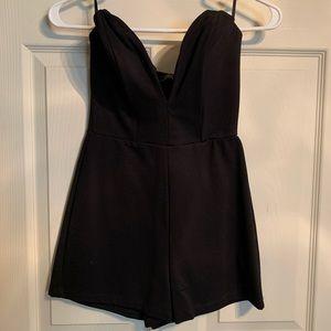 Black sleeveless romper
